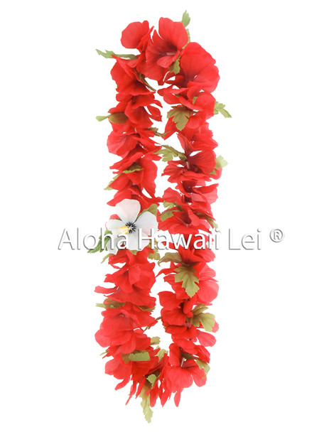 Hibiscus w/Leaves Lei - Asst. (Pack of 6)