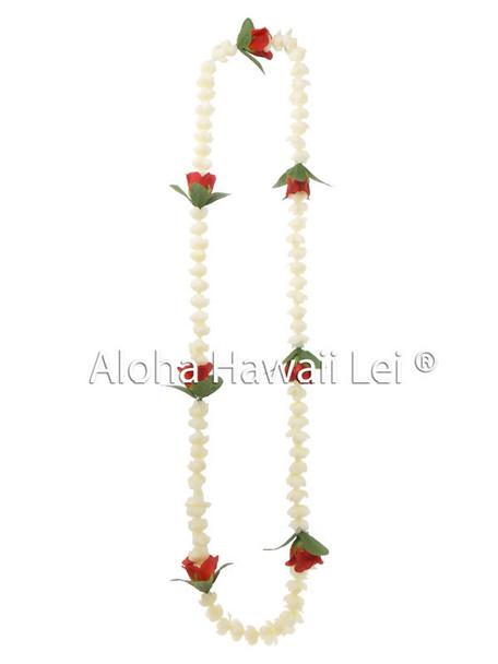 Single Pikake/Rose Bud Combo Lei - White/Red (Pack of 6)