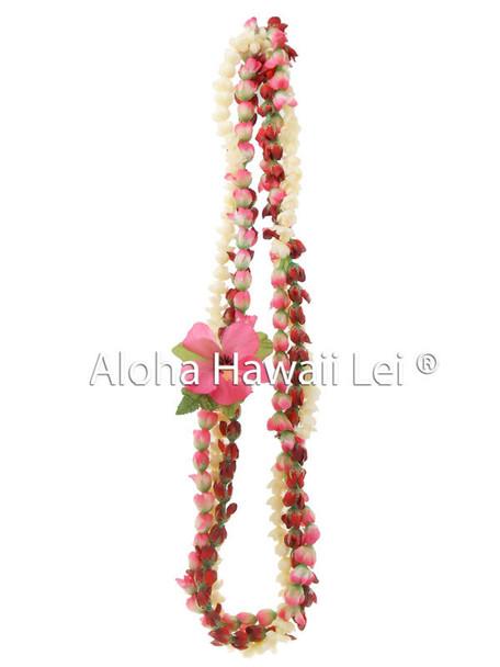 Pikake/Rosebud Twirl Lei - (Pack of 6) Pink/Red