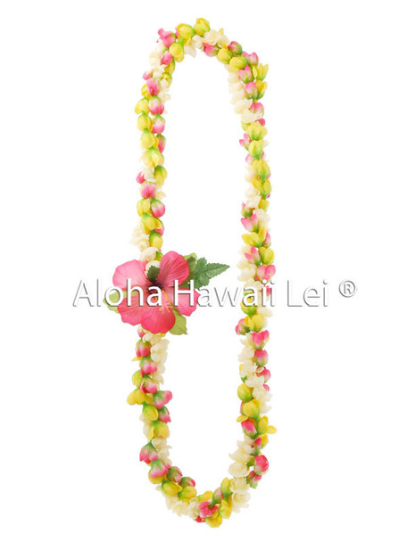 Pikake/Rosebud Twirl Lei (Pack of 6)- Pink/Yellow