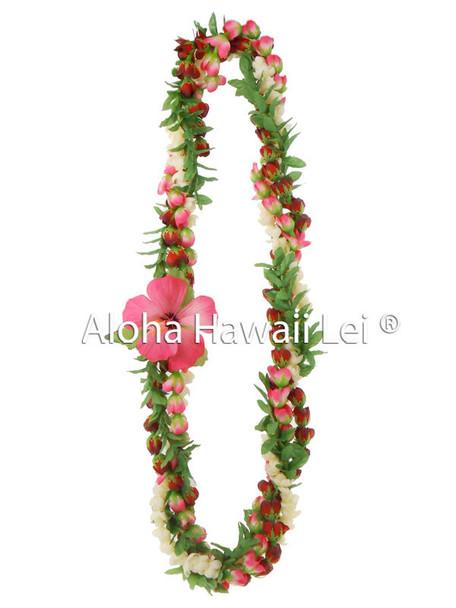 Pikake/Rosebud/Leaf Twirl Lei - (Pack of 6) Pink/Red