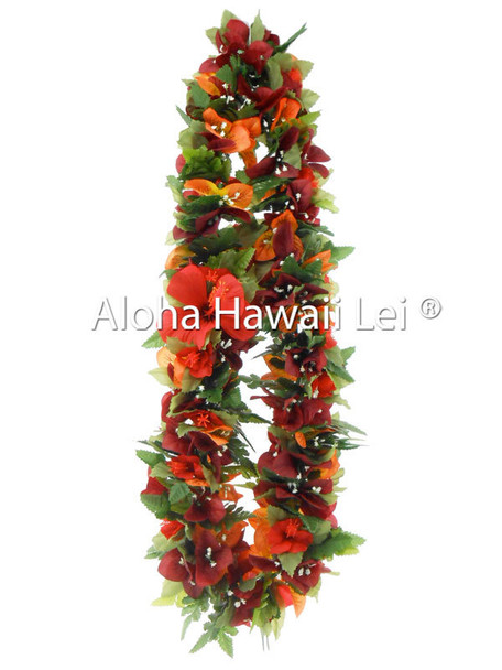 Bougainvillea/Hibiscus Poepoe Lei (Pack of 6)- Red/Orange