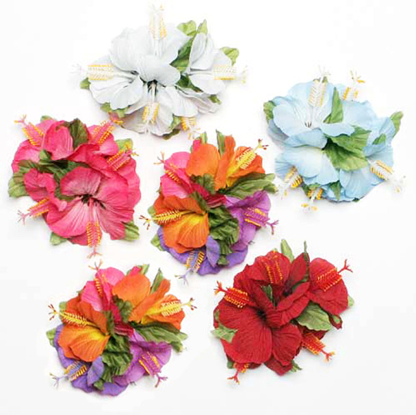Sm Hibiscus Tutu Hair Clip - Asst. (Pack of 6)