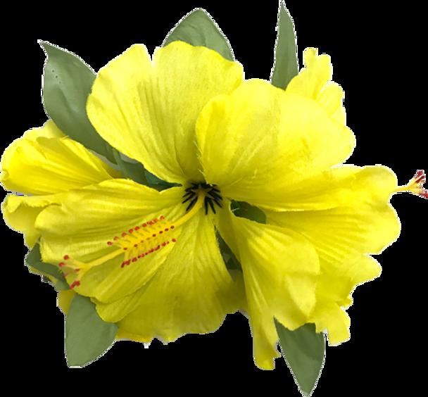 Lrg Hibiscus Tutu Hair Clip (Pack of 6) - Yellow
