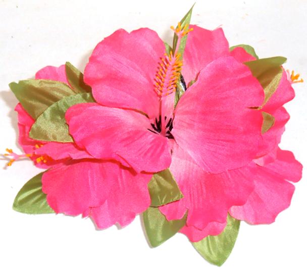 Lrg Hibiscus Tutu Hair Clip (Pack of 6)- Hot Pink