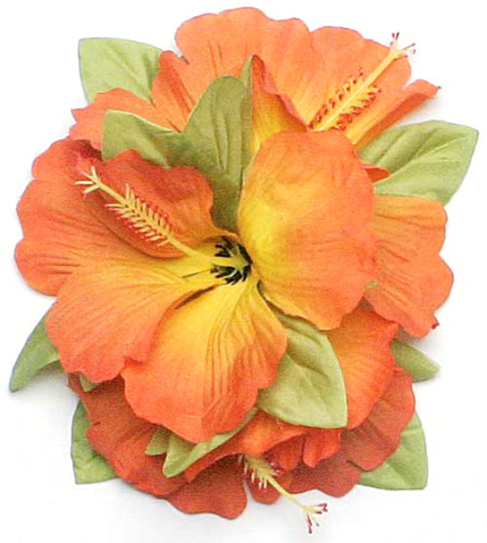 Lrg Hibiscus Tutu Hair Clip (Pack of 6) - Orange