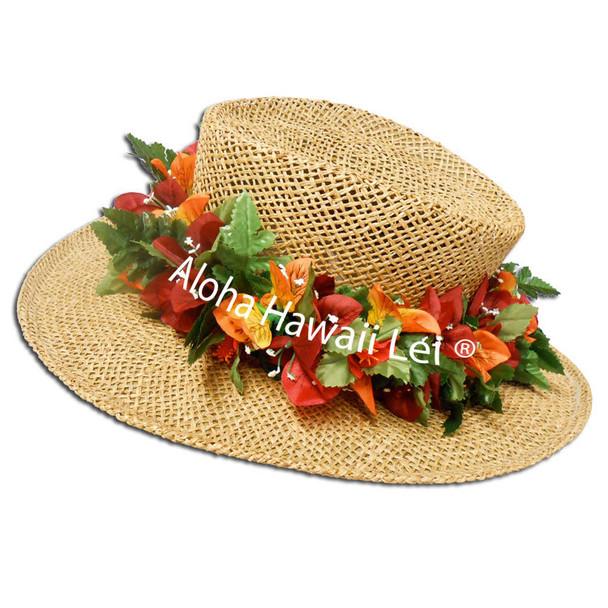 Bougainvilla/Hibiscus Headband - Red/Orange (6-Pack)