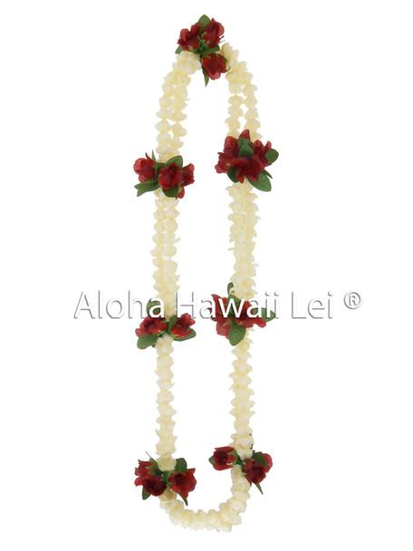Dbl Pikake/Red Rosebud Premium Lei (Pack of 6)