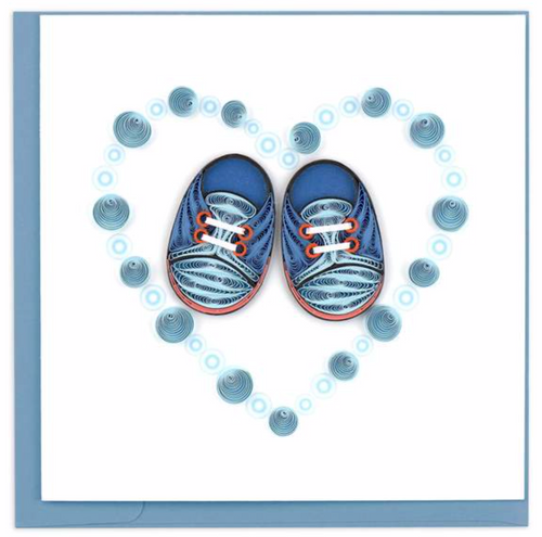 Quilled Blue Baby Booties Card