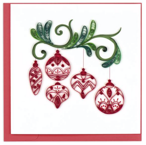 Quilled Red Ornaments Card