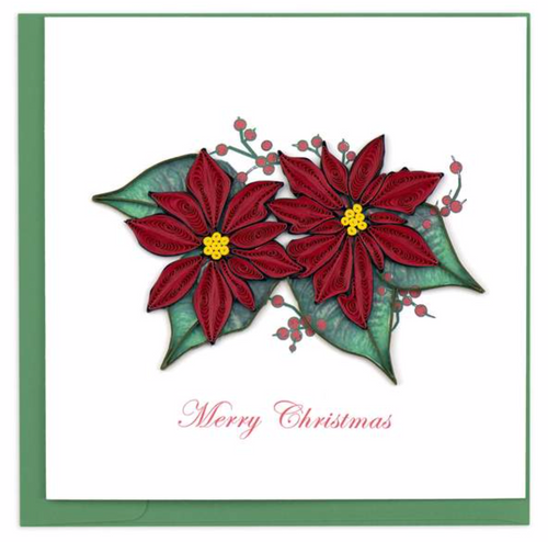 Quilled Christmas Red Poinsettia Card