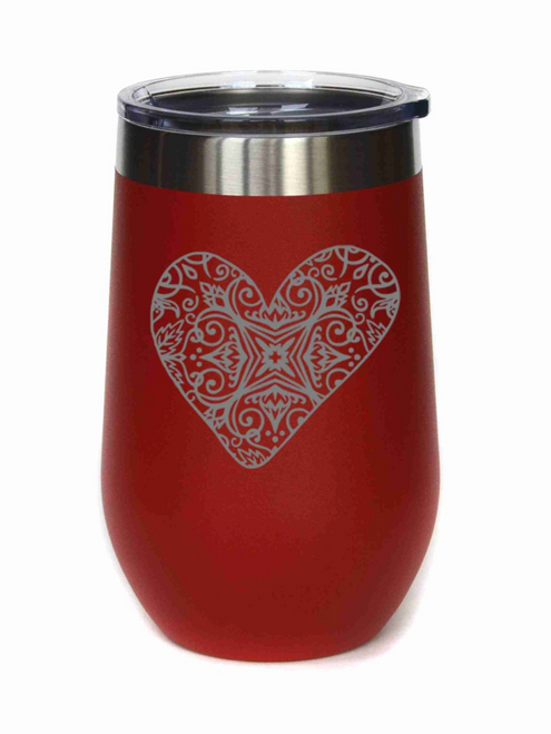 Red Heart 16oz Wine Tumbler