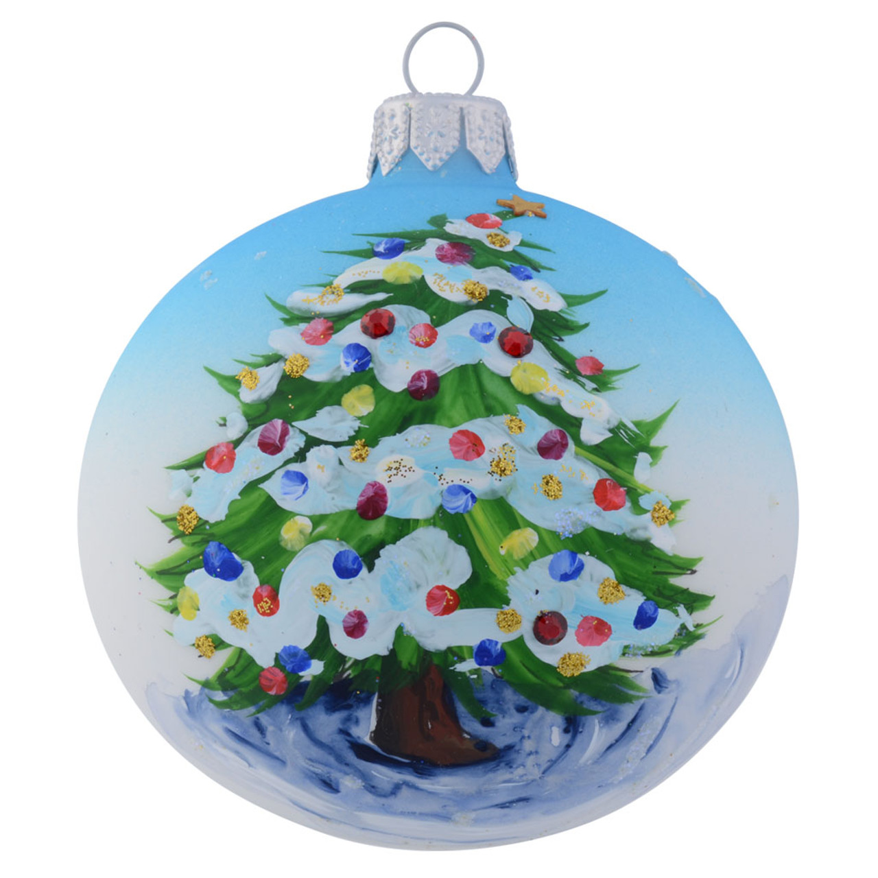 Christmas Tree Dressed With Colourful Baubles Personalised Baby Blue 8cm