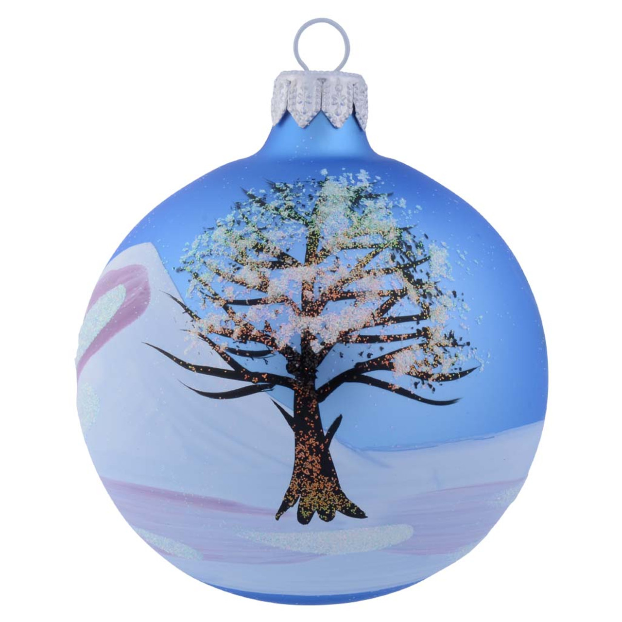 Wintery Tree Covered In Snow Personalised Christmas Bauble Baby Blue 6cm