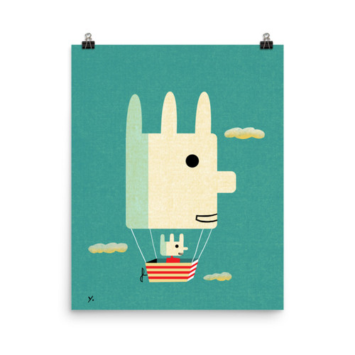 Aqua Flying Bunny Print