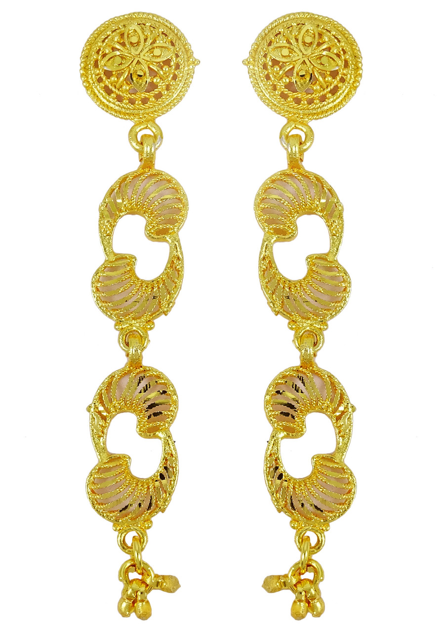 Ethnic Traditional Gold Plated Necklace Earrings Set Wedding