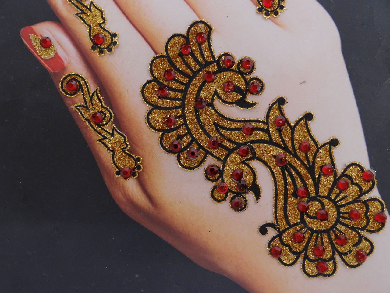 India Cz Mehandi Sticker Temporary Women Self Adhesive Body Art Tattoo Removable Beauty
