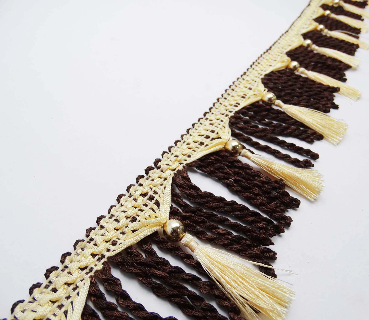 Brown Tassel Fringe Curtain Fringe Lace Upholstery Ribbon 3.5 Trim By The Yard