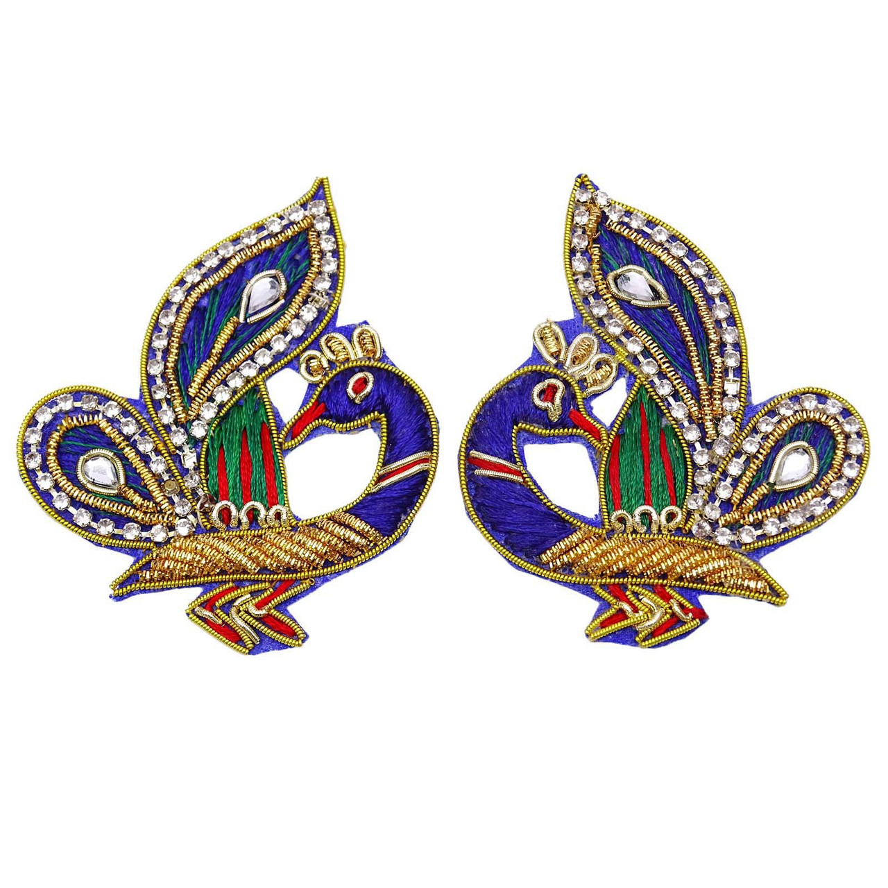 Indian Peacock Embroidered Appliques Multicolor Applique Crafting Sewing 1 Pair