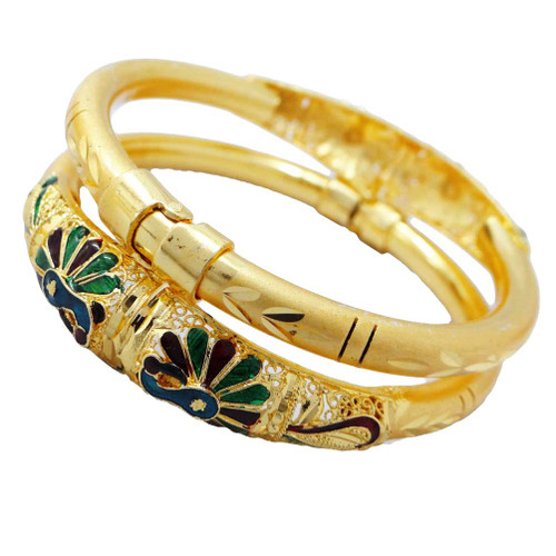 Casual Party wear Peacock Design Ginni Gold Plated  Indian Bracelets Bangles For women And Girls 2 Pcs 2.4  B51