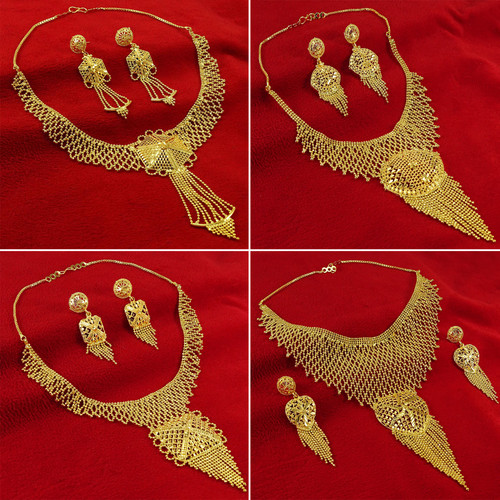 oldplated Designer Traditional 2PC Necklace Earring Set Bollywood Jewelry-BNG1A