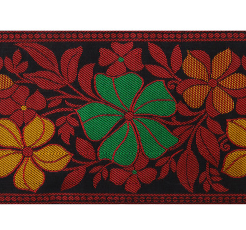 Indian Fabric Lace Floral Embroidered Trim Red Supply 8.1 Cm Wide By The Yard