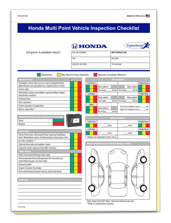 Honda Specific Multi-Point Inspection 2-Part Form w/ Imprint (QTY: 500)