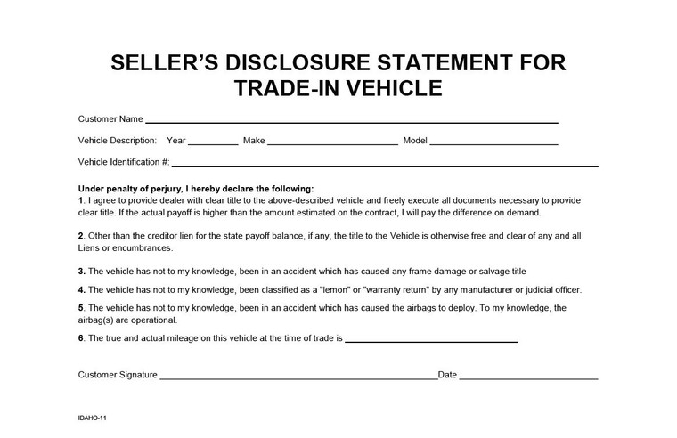 SELLER'S DISCLOSURE FOR TRADE-IN VEHICLE (IDAHO-11) QTY: 250