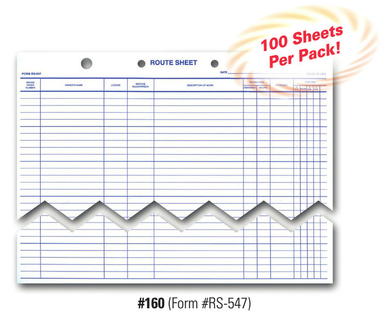 Route Sheet   Form# RS 547