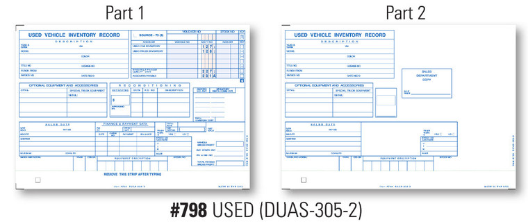 Vehicle Inventory Cards   Form# DUAS 305 2