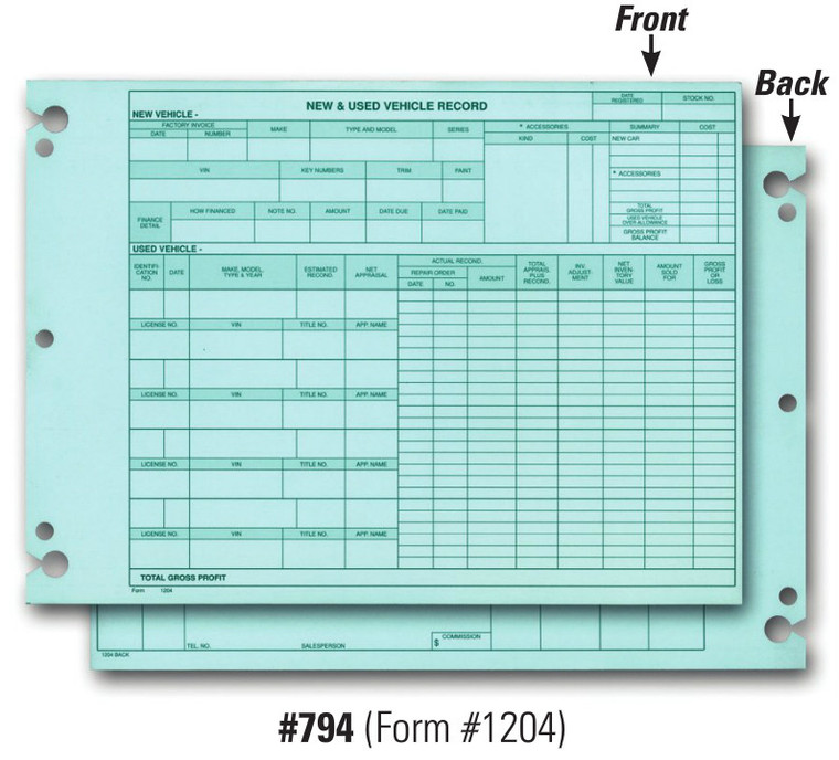 Vehicle Inventory Records   2 Sided (Form #1204)