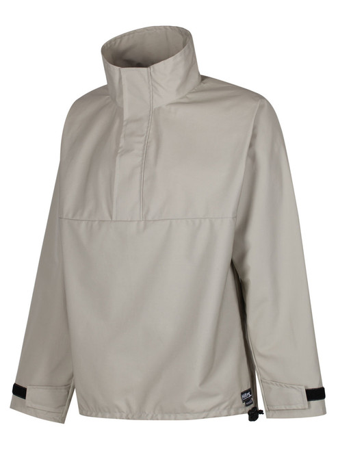 Colour: Stone. High collar with front flap/Velcro fastening and front zip closure.