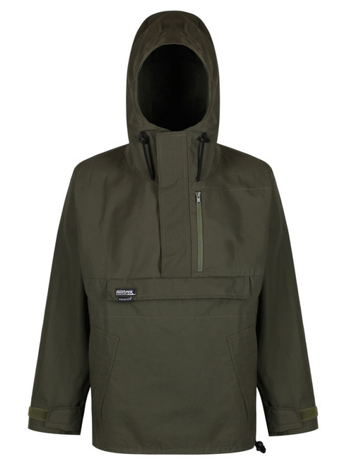 Colour:Olive. Braemar SV Plus Smock with integrated hood, Kangaroo pocket and storm flap, hand-warmer pockets & flats, chest compass pocket.