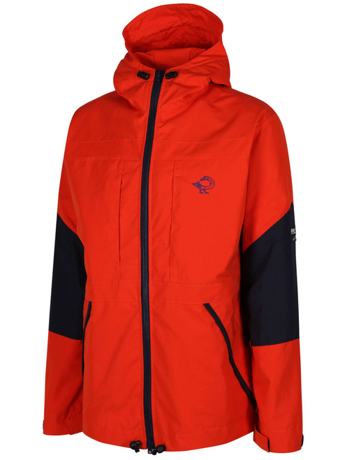 Colour: Blaze/Navy. Fully waterproof in the shoulders and hood and weatherproof elsewhere.