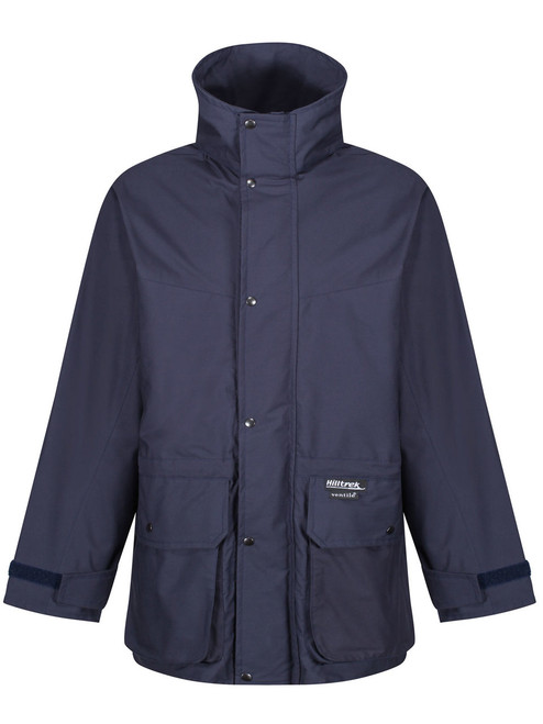 Fully waterproof Double Ventile® jacket with lower bellow pockets. Colour: Navy