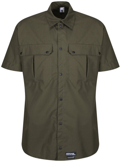Classic styled short sleeved windproof and weatherproof Single Ventile® Shirt. Colour: Olive.