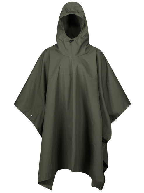 Single Ventile® poncho large enough to cover a rucksack and with many multi-purpose features. Colour: Olive.