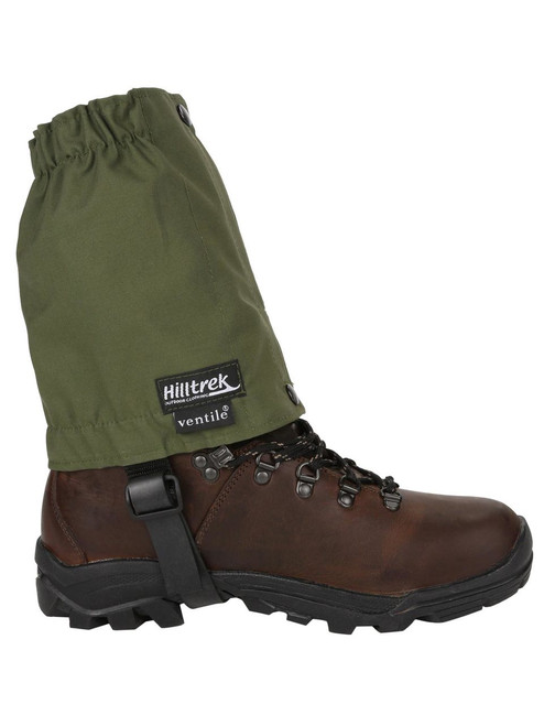 Short ankle single Ventile® gaiters ideal for preventing dust and stones getting into boots and also protecting the bottom of trousers from wear. Colour: Olive.