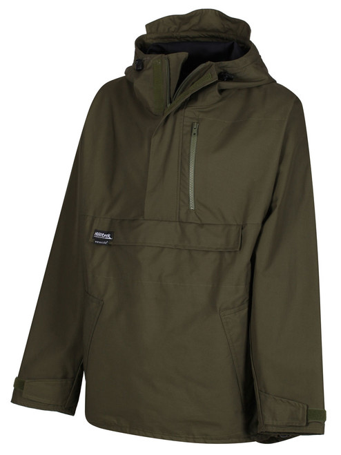 Fully waterproof Cotton Analogy® Smock with adjustable hood and hem to protect from the ravages of the weather. Colour: Olive