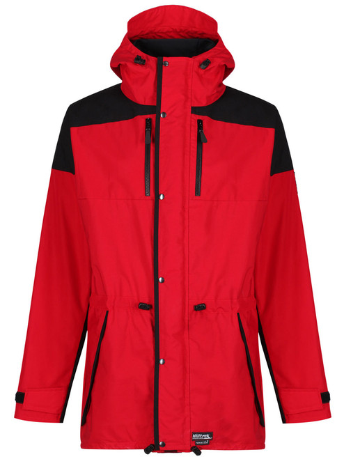 Fully featured Cotton Analogy® Jacket with integrated hood, volume adjuster and wired peak. 2 zipped chest pockets, double front storm flaps with studs.  Colour: Red/ Charcoal.