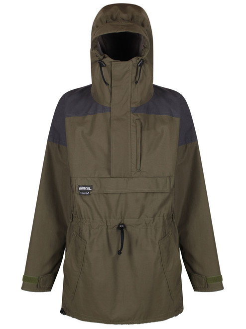 Liathach Cotton Analogy® Smock with fully integrated hood and wired peak. Colour: Olive/Charcoal