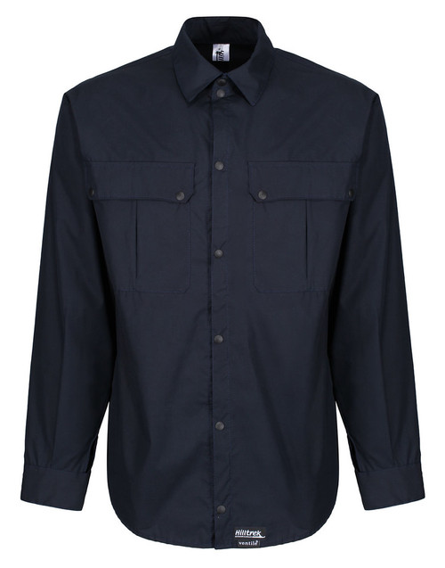 Long sleeved windproof and weatherproof lightweight L35 Single Ventile® Shirt with 2 studded chest pockets . Colour: Dark Navy