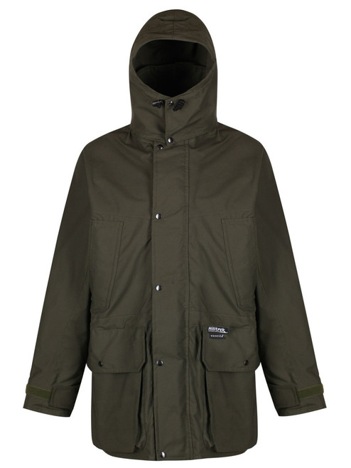 Colour: Olive. A fully specified organic double Ventile® Jacket ideal for a wide range of outdoor activities including field sports, bushcraft and birdwatching.