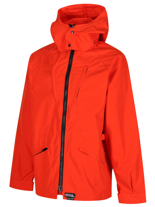 Colour: Blaze Orange. Inspired by the much loved Greenspot Nomad Jacket by Bertram Dudley , the Organic Greenspot® Double Ventile Jacket  is designed for cold weather cycle touring. Shown with optional hood.
