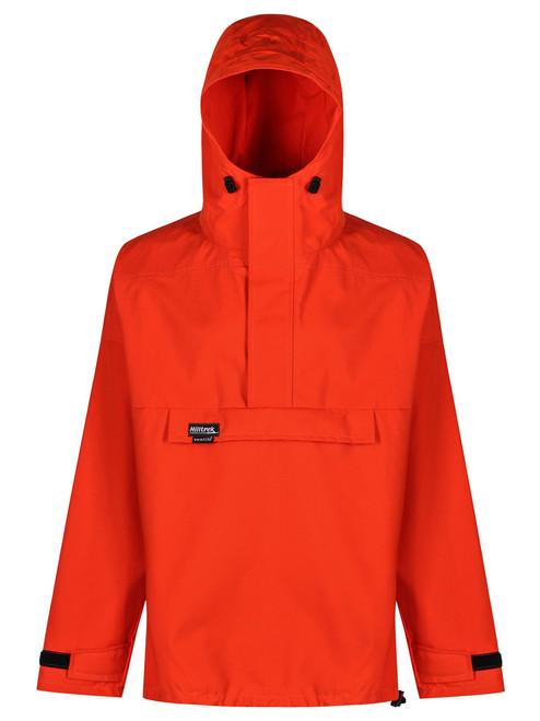 The Braemar Organic Hybrid Smock which is fully waterproof in the shoulders and hood, weatherproof elsewhere. colour Blaze