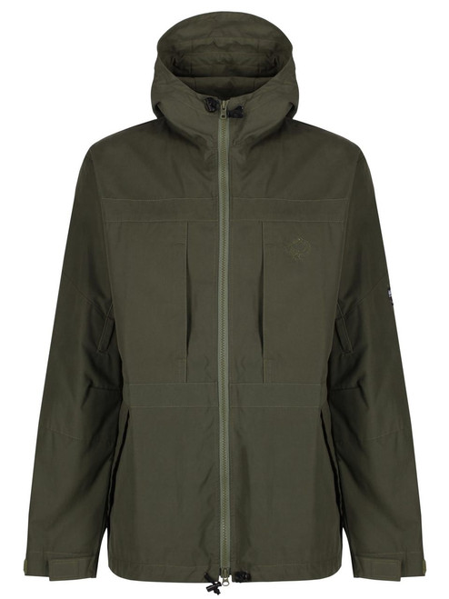 Colour: Olive. The Double Organic Ventile fully waterproof version of our Talorc Hybrid Jacket is perfect for winter walking, bushcraft, nature watching and skiing.