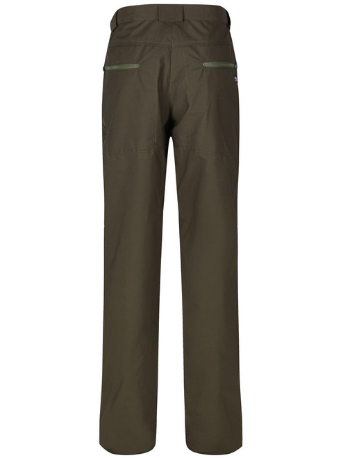 Cabrach Single layered Organic Ventile® trousers with rear seat zipped pockets.  Colour: Olive