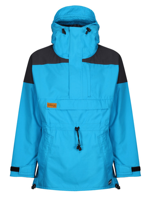 Liathach Organic CA Smock with fully integrated hood and wired peak in Hawaiian Ocean Blue and Charcoal Contrast