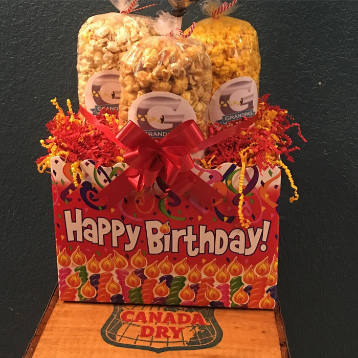 Birthday Box (L) w/ Kettle/Caramel/Cheese Popcorn