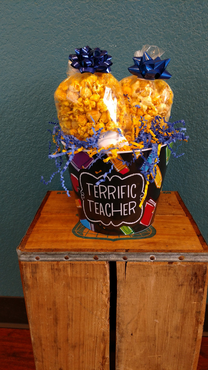 Terrific Teacher Bucket with a bag of Chicago (Cheese&Caramel) & a bag of Cheese (6 cup bags)